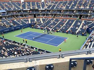 The view from my seat from the loge in Ashe Stadium. The iPhone 4 picture only makes it look like nose bleed territory.